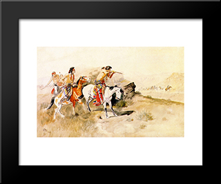 Attack On Muleteers: Modern Black Framed Art Print by Charles M. Russell