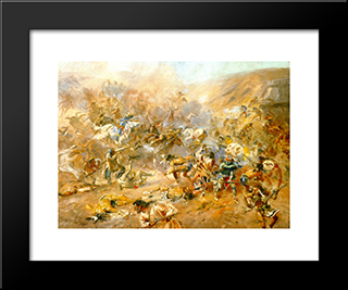 Battle Of Belly River: Modern Black Framed Art Print by Charles M. Russell