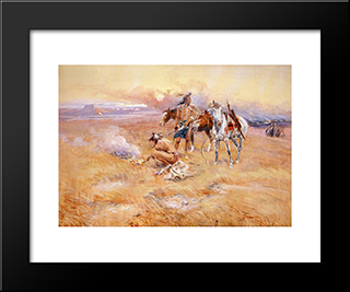 Blackfeet Burning Crow Buffalo Range: Modern Black Framed Art Print by Charles M. Russell