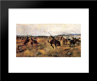 Breaking Camp: Modern Black Framed Art Print by Charles M. Russell