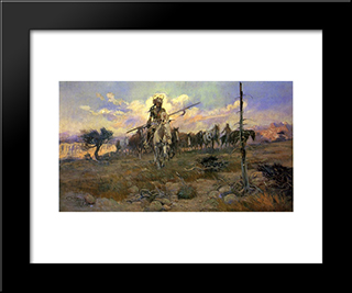 Bringing Home The Spoils: Modern Black Framed Art Print by Charles M. Russell