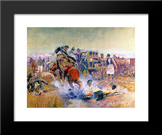 Bronc For Breakfast: Modern Black Framed Art Print by Charles M. Russell
