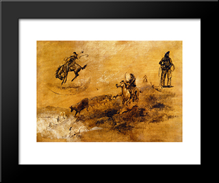 Bronco Busting. Driving In: Modern Black Framed Art Print by Charles M. Russell