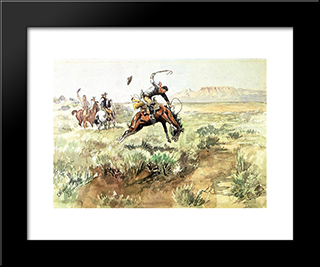Bronco Busting: Modern Black Framed Art Print by Charles M. Russell