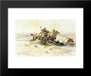 Bronk In A Cow Camp: Modern Black Framed Art Print by Charles M. Russell