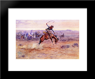 Bucking Bronco: Modern Black Framed Art Print by Charles M. Russell