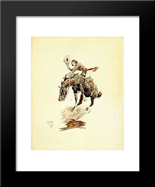 Bucking Horse And Cowgirl: Modern Black Framed Art Print by Charles M. Russell