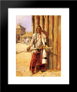 Buffalo Coat: Modern Black Framed Art Print by Charles M. Russell