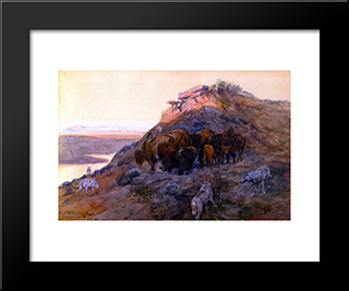 Buffalo Herd At Bay: Modern Black Framed Art Print by Charles M. Russell