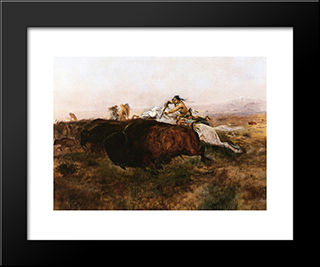 Buffalo Hunt # 10: Modern Black Framed Art Print by Charles M. Russell