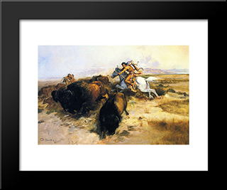 Buffalo Hunt: Modern Black Framed Art Print by Charles M. Russell