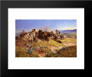 Buffalo Hunt No.40: Modern Black Framed Art Print by Charles M. Russell