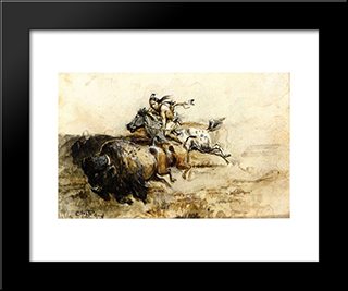Buffalo Hunter: Modern Black Framed Art Print by Charles M. Russell