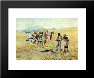 Captain Lewis Meeting The Shoshones: Modern Black Framed Art Print by Charles M. Russell