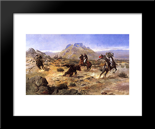 Capturing The Grizzly: Modern Black Framed Art Print by Charles M. Russell