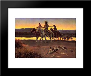 Carson'S Men: Modern Black Framed Art Print by Charles M. Russell