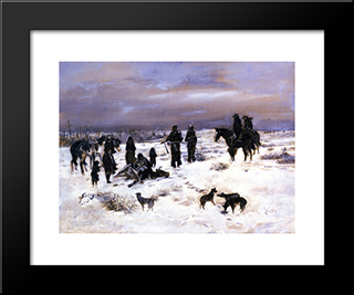 Caught In The Act: Modern Black Framed Art Print by Charles M. Russell