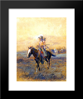 Cavalry Mounts For The Brave: Modern Black Framed Art Print by Charles M. Russell