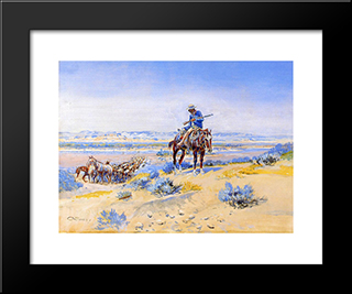Changing Horses: Modern Black Framed Art Print by Charles M. Russell