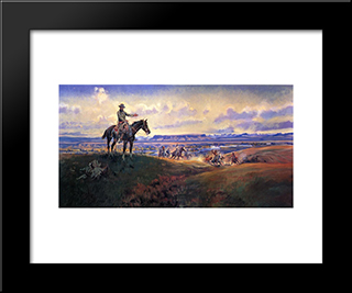 Charles M. Russell And His Friends: Modern Black Framed Art Print by Charles M. Russell