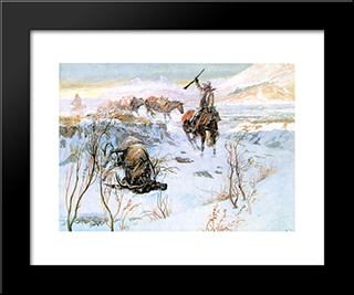 Christmas Dinner For The Men On The Trail: Modern Black Framed Art Print by Charles M. Russell