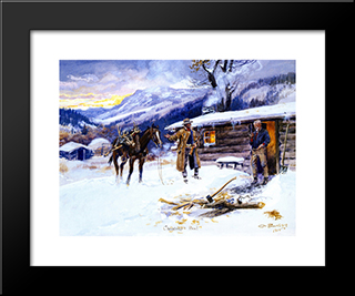 Christmas Meat: Modern Black Framed Art Print by Charles M. Russell