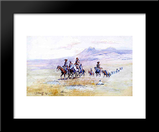 Coming Across The Plain: Modern Black Framed Art Print by Charles M. Russell
