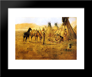 Cowboy Bargaining For An Indian Girl: Modern Black Framed Art Print by Charles M. Russell