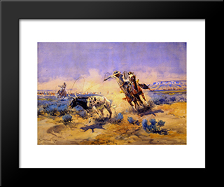 Cowboys From The Quarter Circle Box: Modern Black Framed Art Print by Charles M. Russell