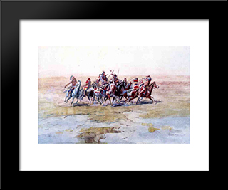 Cree War Party: Modern Black Framed Art Print by Charles M. Russell