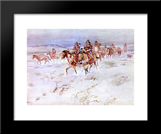 Crees Coming In To Trade: Modern Black Framed Art Print by Charles M. Russell