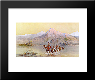 Crossing The Missouri, #1: Modern Black Framed Art Print by Charles M. Russell