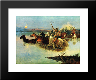 Crossing The Range: Modern Black Framed Art Print by Charles M. Russell