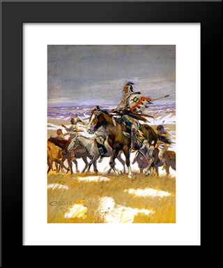 Crow Scouts In Winter: Modern Black Framed Art Print by Charles M. Russell