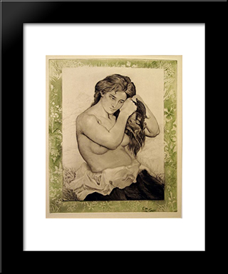 Nude Woman Combing Her Hair: Modern Black Framed Art Print by Charles Maurin