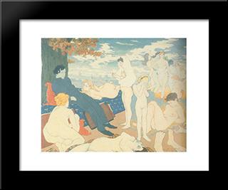The Dawn Of Of The Dream, Or Les Fleurs Du Mal: Modern Black Framed Art Print by Charles Maurin