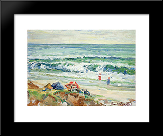 Beach At Del Mar: Modern Black Framed Art Print by Charles Reiffel
