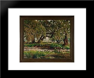 Edge Of The Oak Grove: Modern Black Framed Art Print by Charles Reiffel