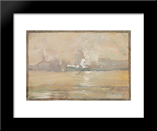 Foggy Morning, No. 2: Modern Black Framed Art Print by Charles Reiffel