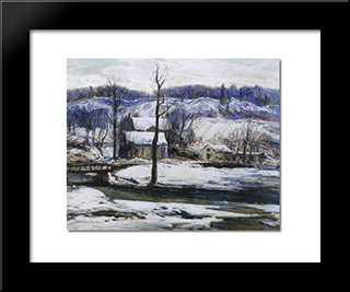 The Mill In Winter: Modern Black Framed Art Print by Charles Reiffel