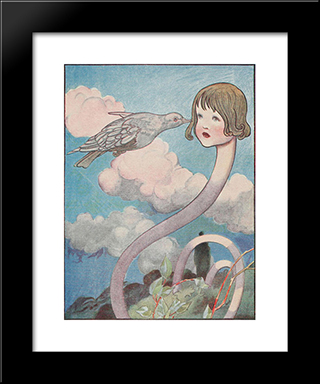 A Large Pigeon Had Flown Into Her Face: Modern Black Framed Art Print by Charles Robinson