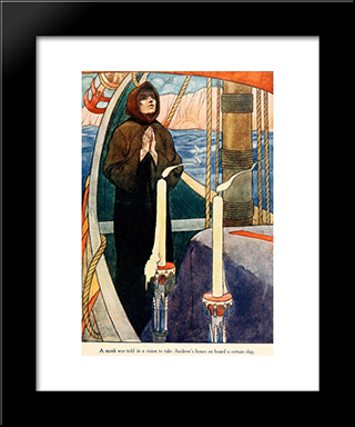 A Monk Was Told In A Wvision To Take Andrew'S Bones On Board A Certain Ship: Modern Black Framed Art Print by Charles Robinson