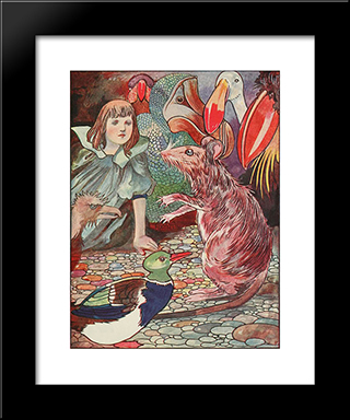 Ahem - Said The Mouse With An Important Air: Modern Black Framed Art Print by Charles Robinson