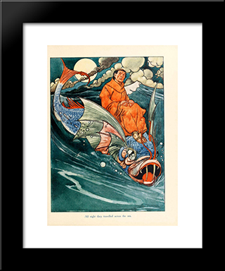 All Night They Travelled Across The Sea: Modern Black Framed Art Print by Charles Robinson