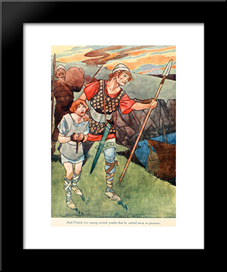 And Patric Was Among Several Youth That He Carried Away As Prisoners: Modern Black Framed Art Print by Charles Robinson