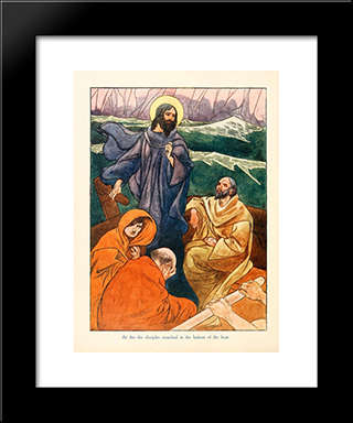 At This The Disciples Crouched In The Bottom Of The Boat: Modern Black Framed Art Print by Charles Robinson