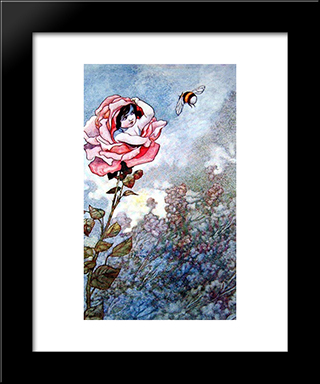Child Hiding In Rose: Modern Black Framed Art Print by Charles Robinson