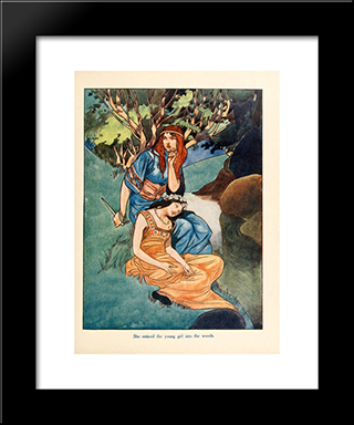 She Enticed The Young Girl Into The Woods: Modern Black Framed Art Print by Charles Robinson