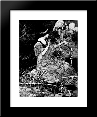 The Lady Of Shalott: Modern Black Framed Art Print by Charles Robinson
