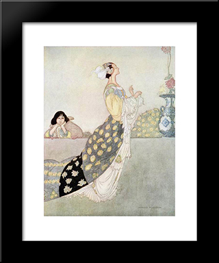 The Nightingale And The Rose: Modern Black Framed Art Print by Charles Robinson